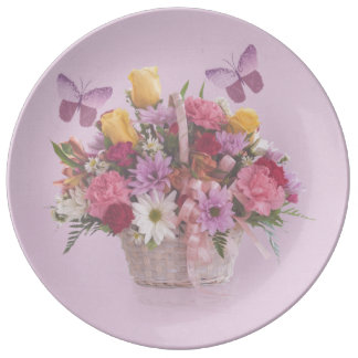 Basket of Flowers and Butterflies Dinner Plate