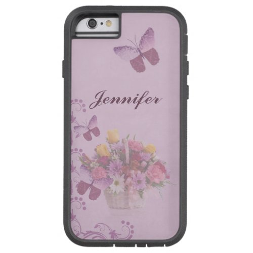 Basket of Flowers and Butterflies, Name Phone Case