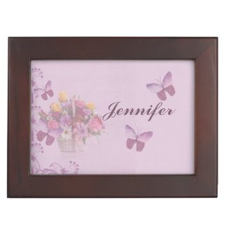 Basket of Flowers and Butterflies, Name Memory Box