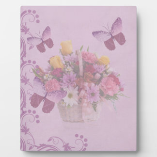 Basket of Flowers and Butterflies Plaque