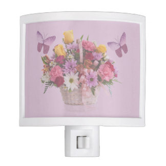 Basket of Flowers and Two Butterflies Night Light
