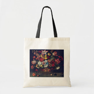 Basket Of Flowers By Linard Jaques (Best Quality) Budget Tote Bag