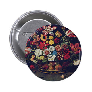 Basket Of Flowers By Linard Jaques (Best Quality) 2 Inch Round Button