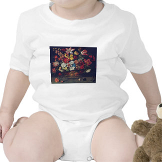 Basket Of Flowers By Linard Jaques (Best Quality) Baby Bodysuit