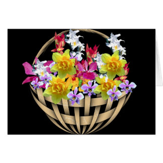 Basket Of Flowers Greeting Cards