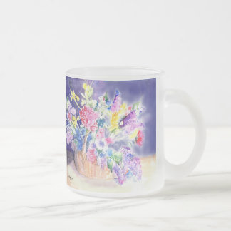 Basket of Flowers Frosted Glass Coffee Mug