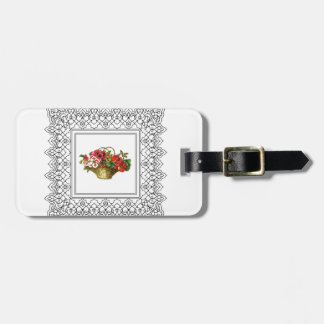 basket of flowers red pink luggage tag