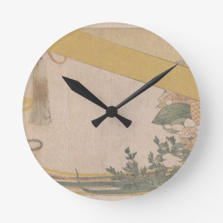 Basket of Flowers with Bamboo Blind Round Clock