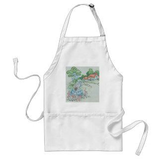 basket of flowerslady adult apron