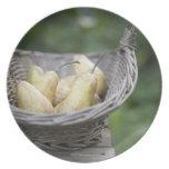 Basket of freshly picked pears. melamine plate