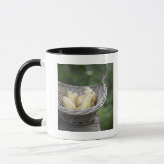 Basket of freshly picked pears. mug