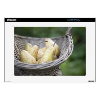 "Basket of freshly picked pears skin for 15"" laptop"