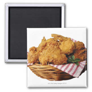 Basket of fried chicken 2 inch square magnet