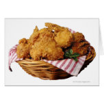 Basket of fried chicken greeting cards