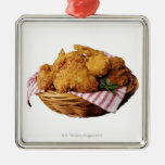 Basket of fried chicken square metal christmas ornament