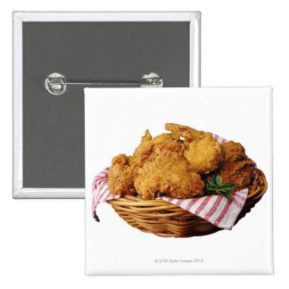 Basket of fried chicken pinback button
