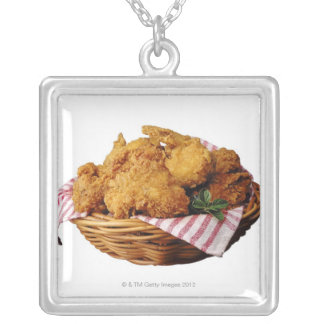 Basket of fried chicken silver plated necklace