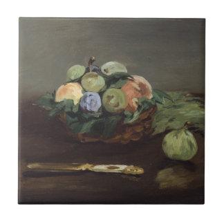 Basket of Fruit by Edouard Manet Ceramic Tiles