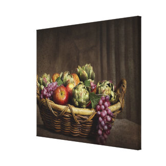 Basket of Fruit - Still Life - Wrap-Around Canvas