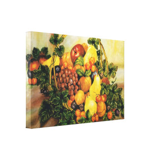 Basket of Fruit  Watercolor Painting  on Canvas