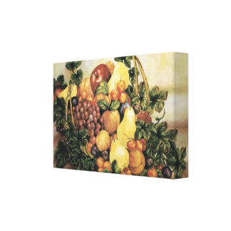 Basket of Fruit  Watercolor Painting Wrapped Canva Canvas Print
