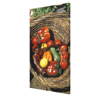 Basket of fruits and vegetables on the place canvas print