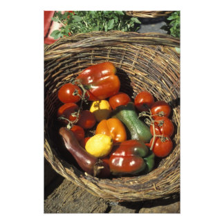 Basket of fruits and vegetables on the place photo print