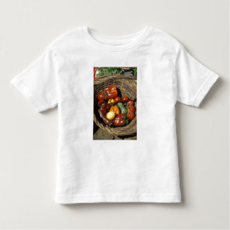 Basket of fruits and vegetables on the place shirt