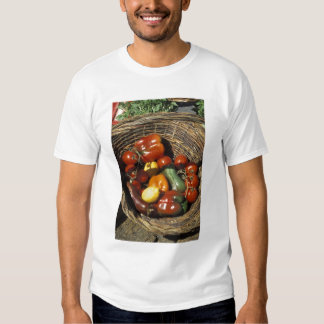 Basket of fruits and vegetables on the place t-shirt