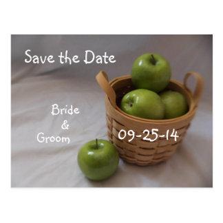 Basket of Green Apple Wedding Postcards