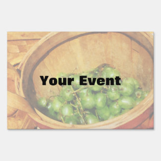 Basket of Green Grapes Lawn Signs