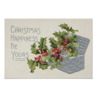 Basket of Holly Winterberry Poster