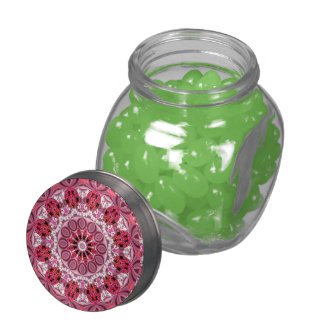 Basket of Jewels, Abstract Ruby Lace Candy Glass Candy Jar