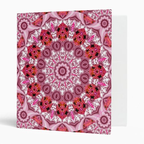 Basket of Lace, Abstract Red, Pink, White Mandala Binder