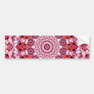 Basket of Lace Abstract Red Pink White Mandala Bumper Sticker