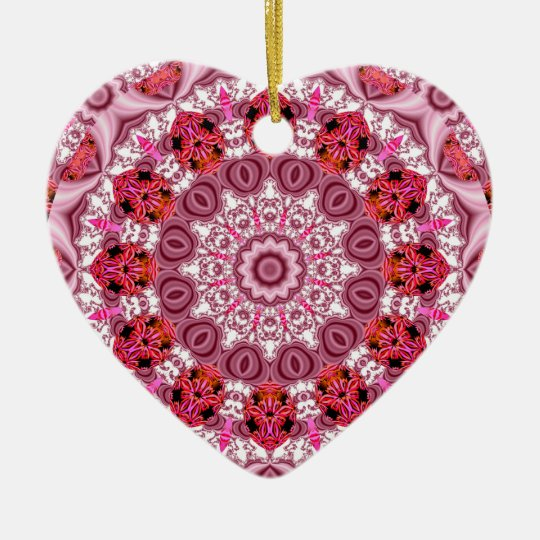 Basket of Lace, Abstract Red, Pink, White Mandala Ceramic Ornament