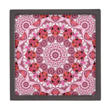 Basket of Lace, Abstract Red, Pink, White Mandala Gift Box