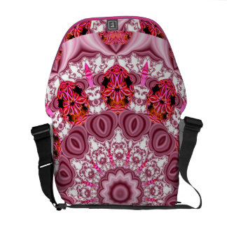 Basket of Lace, Abstract Red, Pink, White Mandala Messenger Bags