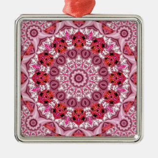 Basket of Lace, Abstract Red, Pink, White Mandala Christmas Ornaments