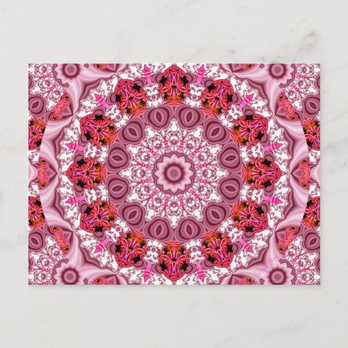 Basket of Lace, Abstract Red, Pink, White Mandala Postcard