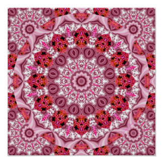 Basket of Lace, Abstract Red, Pink, White Mandala Print