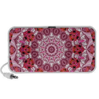 Basket of Lace, Abstract Red, Pink, White Mandala Speakers