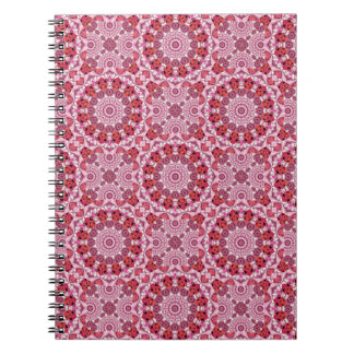 Basket of Lace, Abstract Red, Pink, White Mandala Spiral Notebook