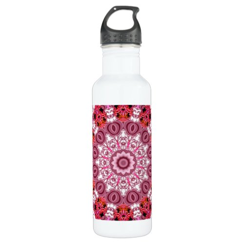 Basket of Lace, Abstract Red, Pink, White Mandala Stainless Steel Water Bottle