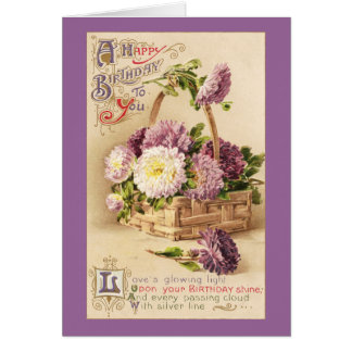 Basket of Mums Vintage Birthday Card