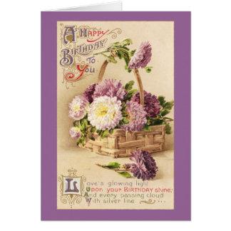 Basket of Mums Vintage Birthday Cards