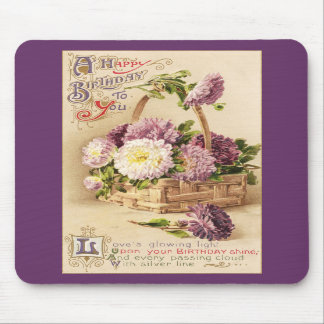 Basket of Mums Vintage Birthday Mouse Pads