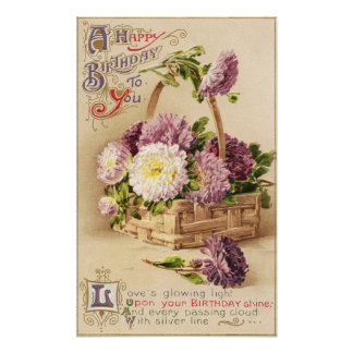 Basket of Mums Vintage Birthday Poster