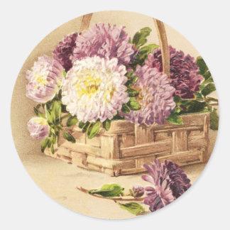 Basket of Mums Vintage Birthday Round Sticker