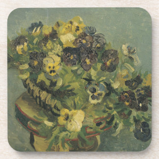 Basket of Pansies on a Small Table by Van Gogh Drink Coaster